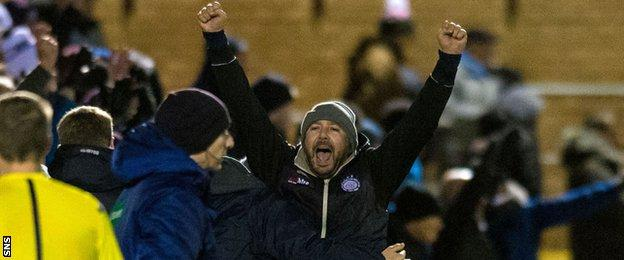 Linlithgow Rose manager Dave McGlynn celebrates