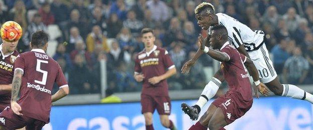 Paul Pogba scores for Juventus against Torino