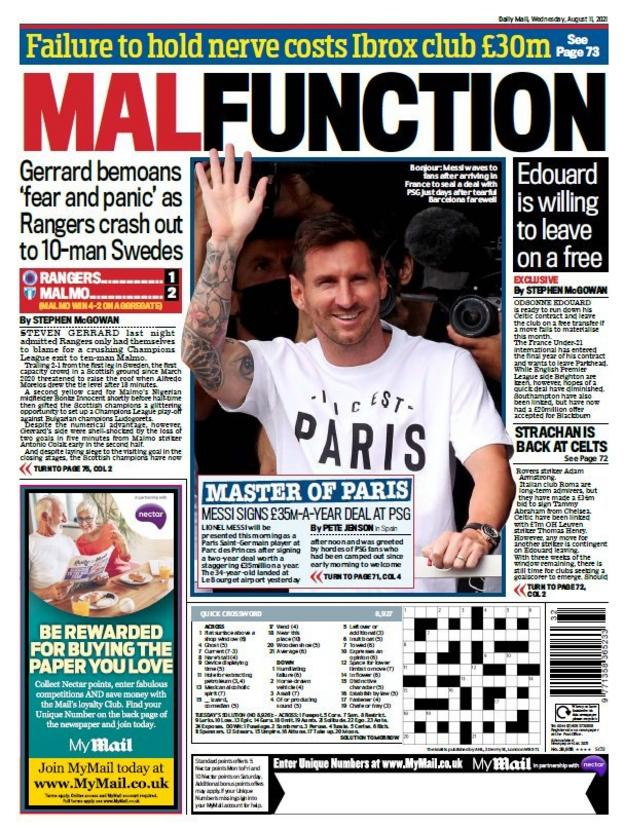 Back of the Scottish Daily Mail dated Wednesday