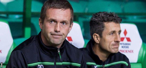 Celtic manager Ronny Deila (left) and his assistant John Collins