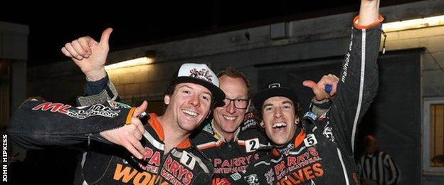 Wolves riders Kyle Howarth, Peter Karlsson, Sam Masters celebrated getting to Wolves' first final since 2009