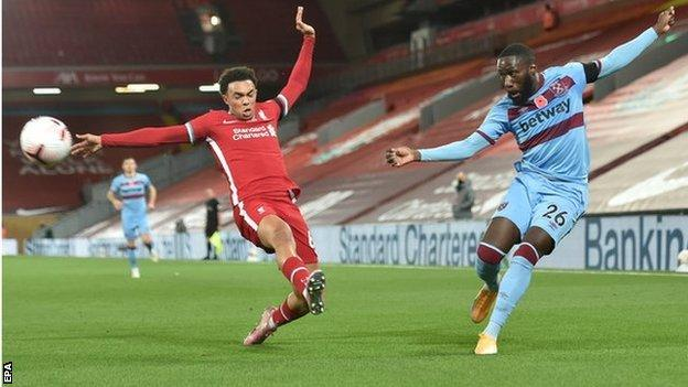 Arthur Masuaku in action for West Ham United against Liverpool at Anfield in the Premier League