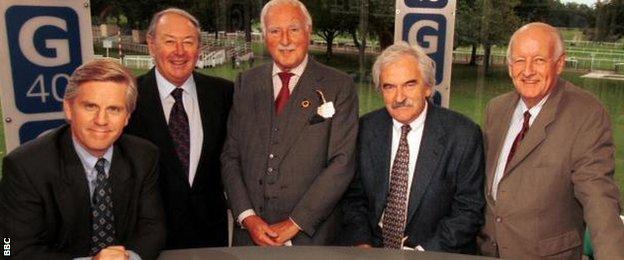 Grandstand presenters Steve Rider, David Coleman, Peter Dimmock, Desmond Lynam and Frank Bough
