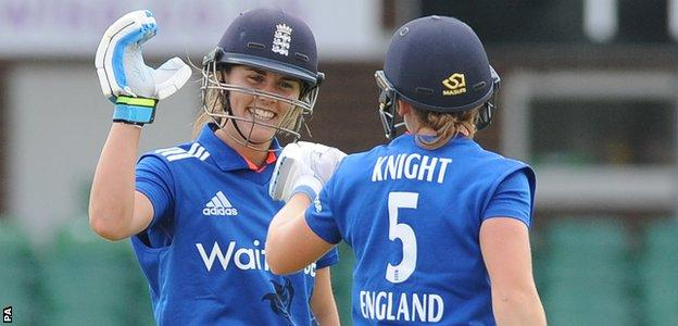 Natalie Sciver congratulates Heather Knight on her 10th ODI fifty