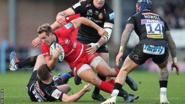 Max Malins made his Sarries debut against Scarlets in January 2017