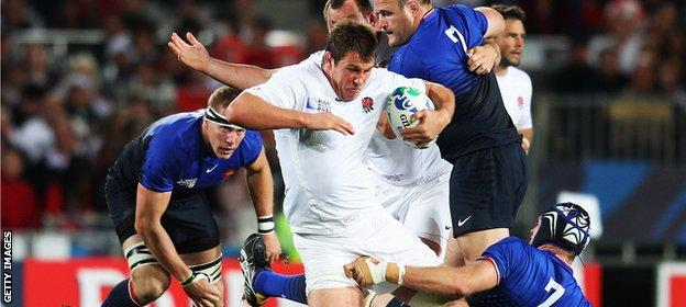 Louis Deacon in action against France at the 2011 World Cup