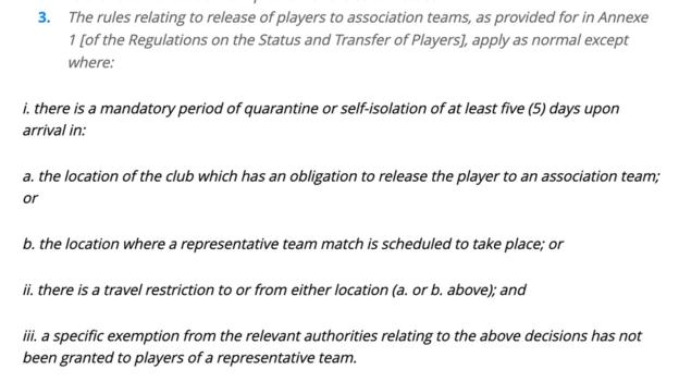 The Fifa amendments on the release players during Covid-19