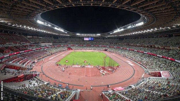 A general view of the Olympic athletics stadium