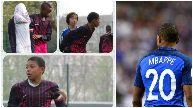 Kylian Mbappe as a youngster and playing for the France senior team