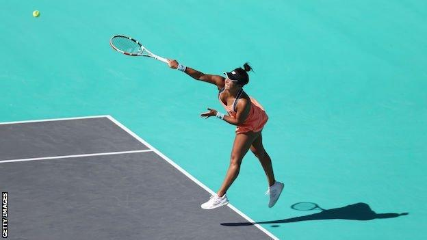 Heather Watson in action at the Abu Dhabi Open