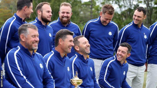 The European Ryder Cup team doing their publicity shots