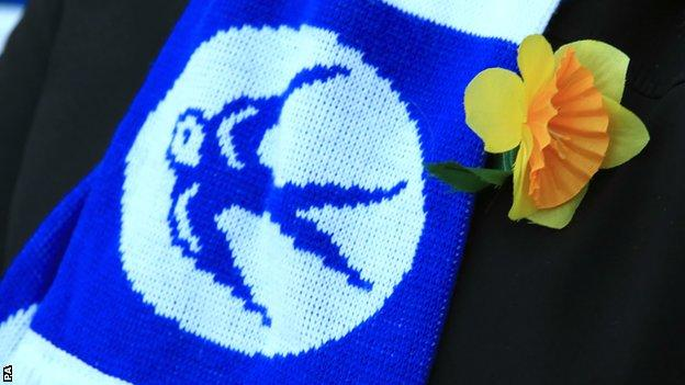 Some Cardiff fans wore daffodils to honour Sala
