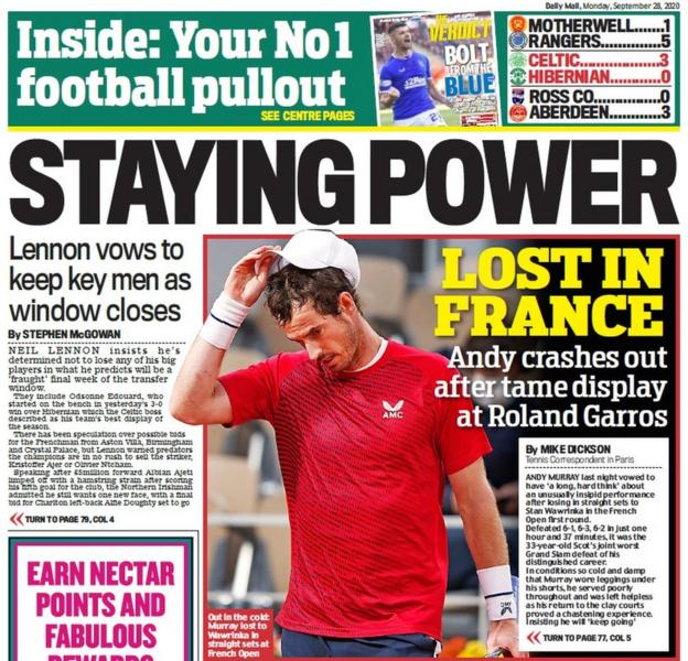 The back page of the Scottish Daily Mail on 280920
