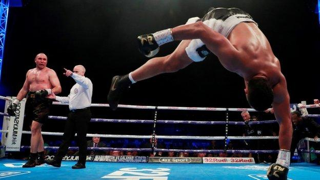 Joe Joyce celebrated with a flip after winning for the ninth time as a professional