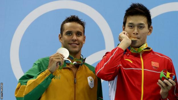 South Africa's Chad le Clos (left), China's Sun Yang on the podium for the 200m freestyle at 2016 Olympic games