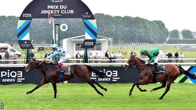 Jockey Jean-Bernard Eyque rides Almanzor