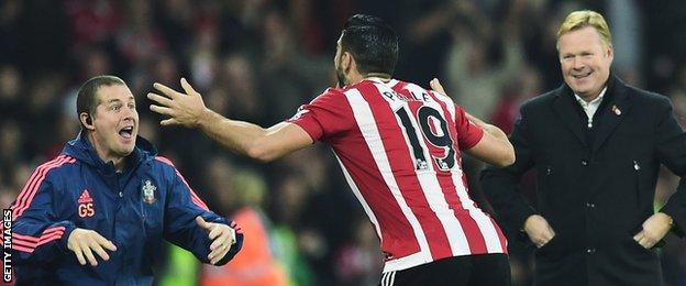 Graziano Pelle celebrated his goal by performing the haka with a member of the Saints backroom staff