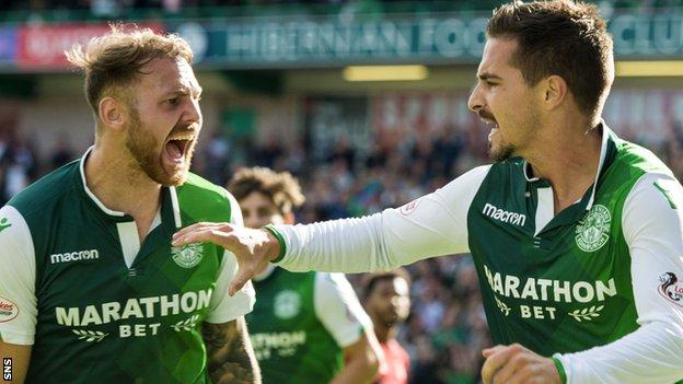 Hibs' Martin Boyle and Jamie Maclaren celebrate