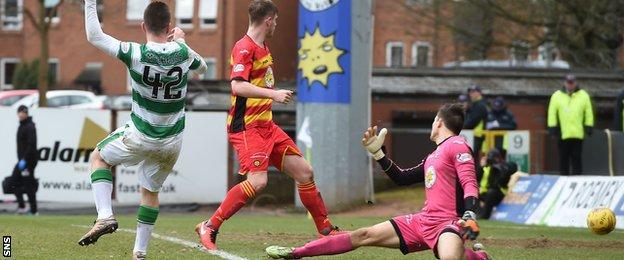 Callum McGregor fires past Partick Thistle goalkeeper Tomas Cerny