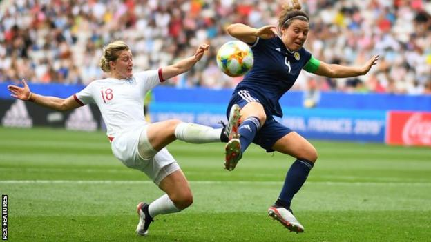 Ellen White in action for England against Scotland at the 2019 Women's World Cup