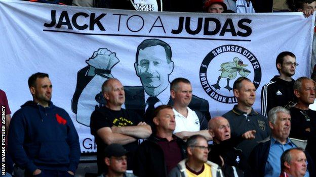 Swansea chairman Huw Jenkins has come under increasing criticism from the terraces