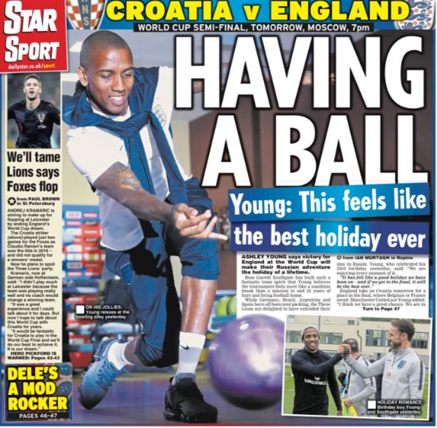 The Star also leads on Ashley Young talking about England's positive spirit