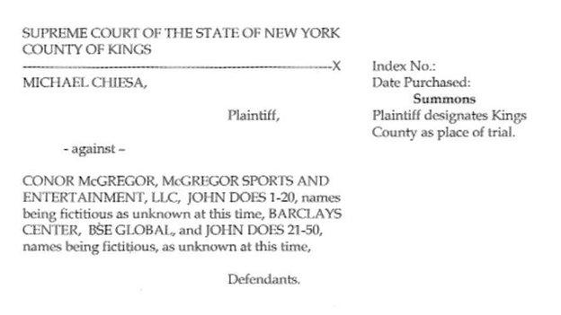 Court papers filed by Michael Chiesa attorney