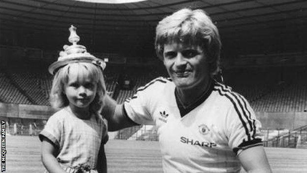 Gordon McQueen with Hayley as a child with the FA Cup