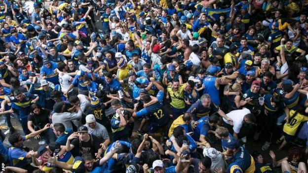 Boca Juniors fans celebrate in Buenos Aires