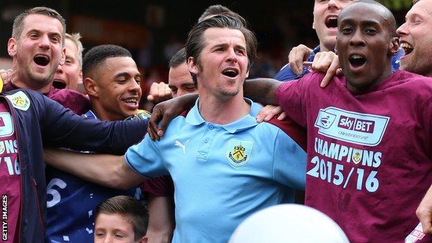 Joey Barton celebrates with Burnley