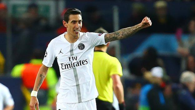 Angel di Maria celebrates PSG's win over Manchester United at Old Trafford