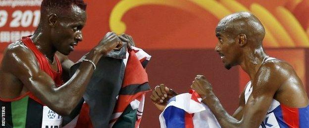 Kenya's Caleb Ndiku (left) and Mo Farah
