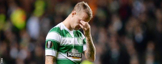 Celtic striker Leigh Griffiths looks distraught