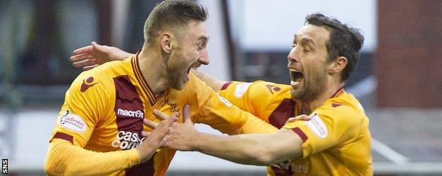 Motherwell strikers Louis Moult and Scott McDonald celebrate