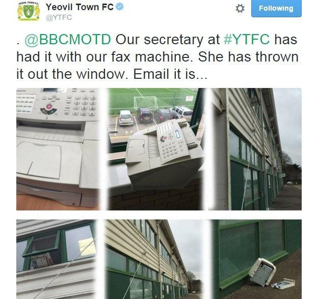 Yeovil Town show their fax machine thrown from a window