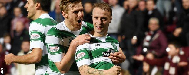 Celtic's Leigh Griffiths celebrates against Hearts