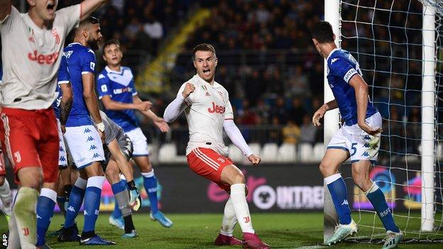 Brescia 1 2 Juventus Miralem Pjanic Hits Winner As Serie A Champions Win To Go Top Bbc Sport