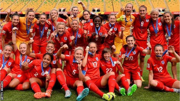 England celebrate winning bronze in Canada