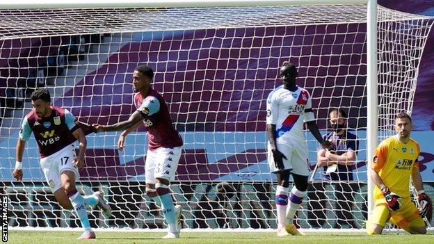 Trezeguet celebrates after scoring for Aston Villa against Crystal Palace