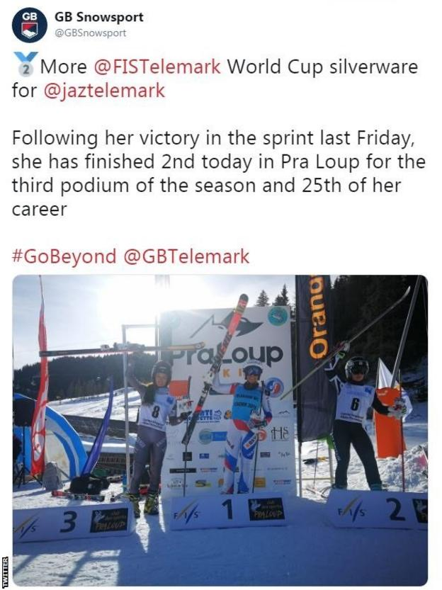 "GB Snowsport tweet: ""More Telemark World Cup silverware for @jaztelemark. Following her victory in the sprint last Friday, she has finished second today in Pra Loup for the third podium of the season and 25th of her career."""