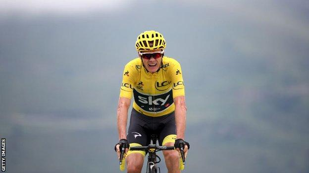 Chris Froome finishing at the end of stage 12