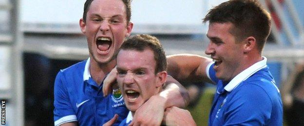 David Kee (centre) is congratulated after scoring Linfield's goal in Slovakia