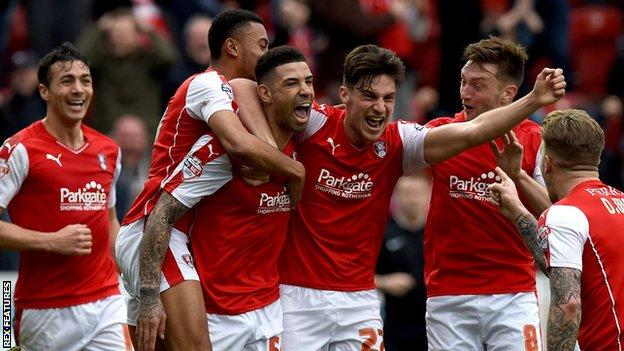 Rotherham players celebrate
