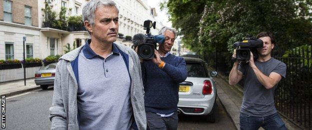 Jose Mourinho was followed by media as he left his London home on Monday