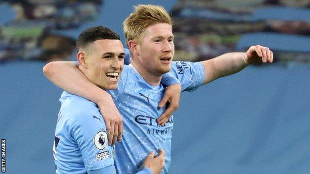 Kevin de Bruyne and Phil Foden