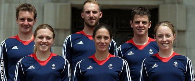 Alistair (back left) and Jonny Brownlee (back right) alongside Team GB's selected Olympic triathlon athletes