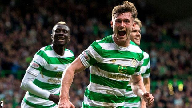 Celtic's Anthony Ralston celebrates scoring against Kilmarnock in the League Cup