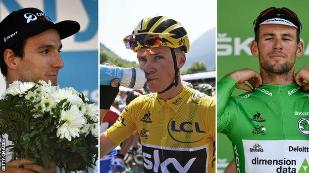 Adam Yates, Chris Froome and Mark Cavendish (left to right)