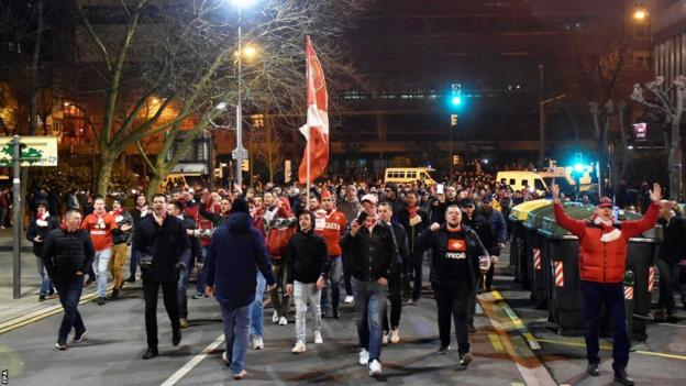 Spartak Moscow supporters arrive at the football stadium in Bilbao, Spain, for their team's match against Athletic Bilbao, 22 February 2018