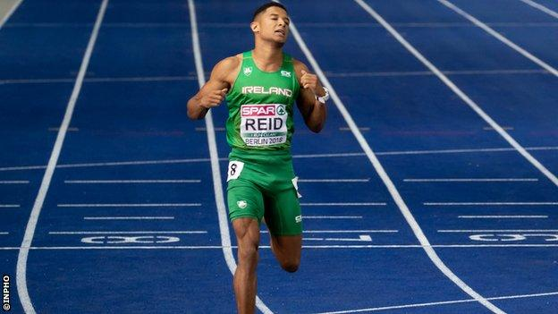 Leon Reid crosses the finishing line at the 2018 European Championships in Berlin